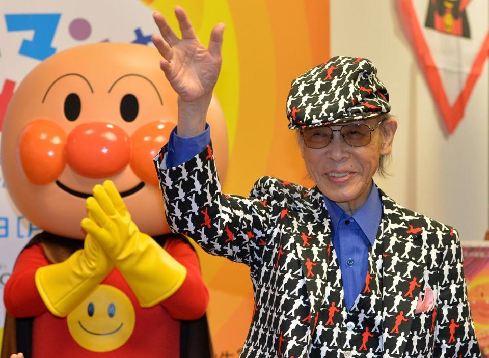 Mr. Yanase's Anpanman is a superhero with a head made of bread filled with red bean paste, a typical snack in Japan.