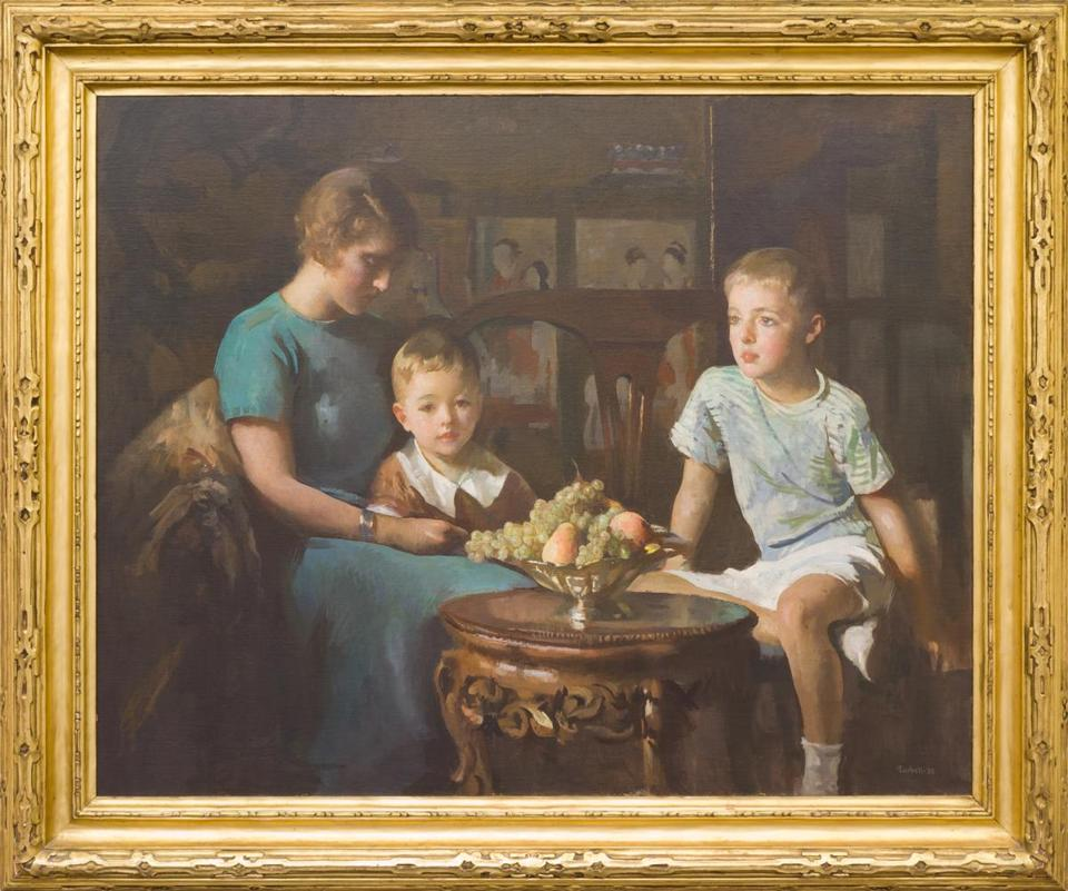 "Painted by Edmund C. Tarbell, ""Margery, Edmund and Danny"" depicts the artist's daughter-in-law and two grandchildren."