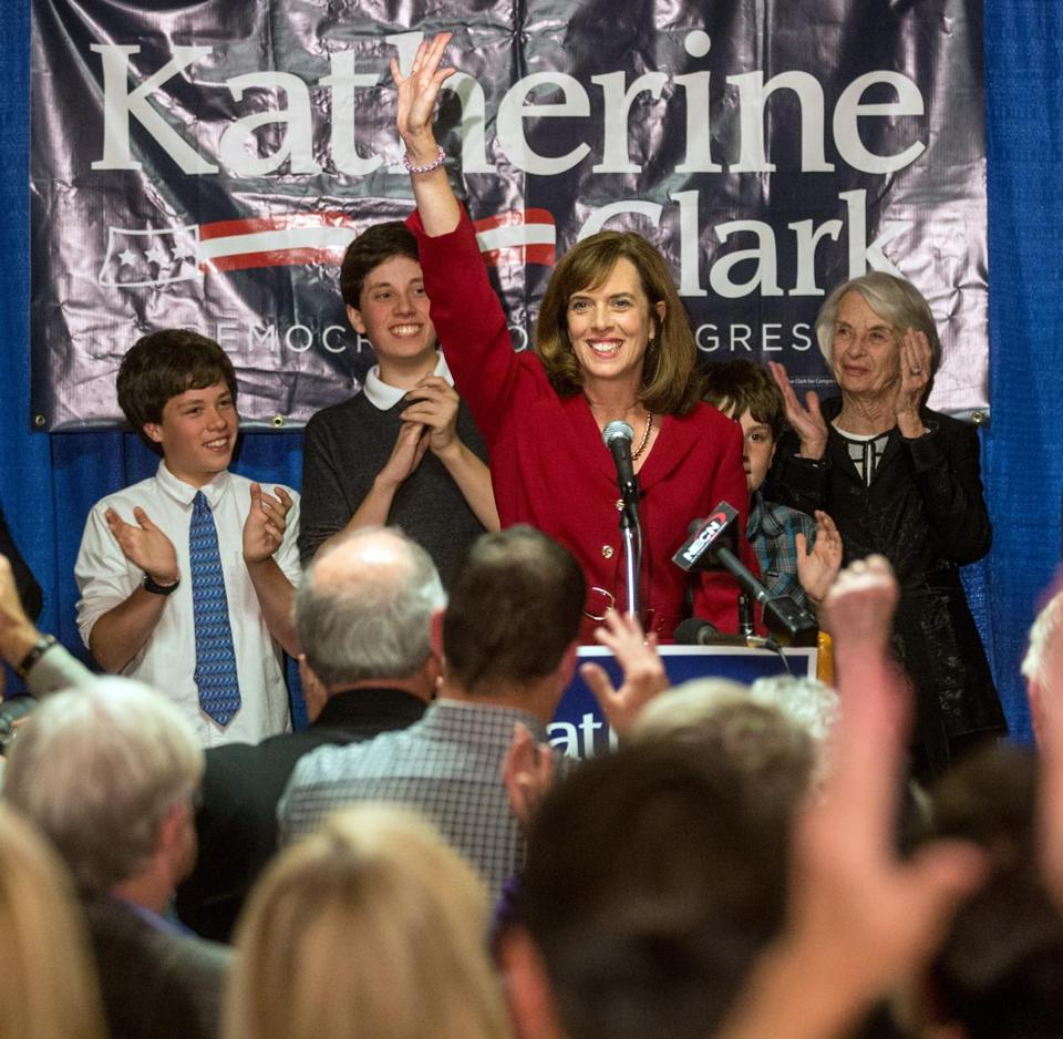 Democrat Katherine Clark  greeted supporters at a celebration in Melrose after she won the primary vote in the Fifth Congressional District  Tuesday night.