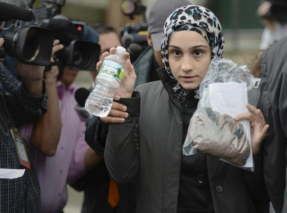 Ailina Tsarnaeva, whose brothers are accused in the Boston Marathon bombing, left district court in South Boston Wednesday after she was released on personal recognizance.