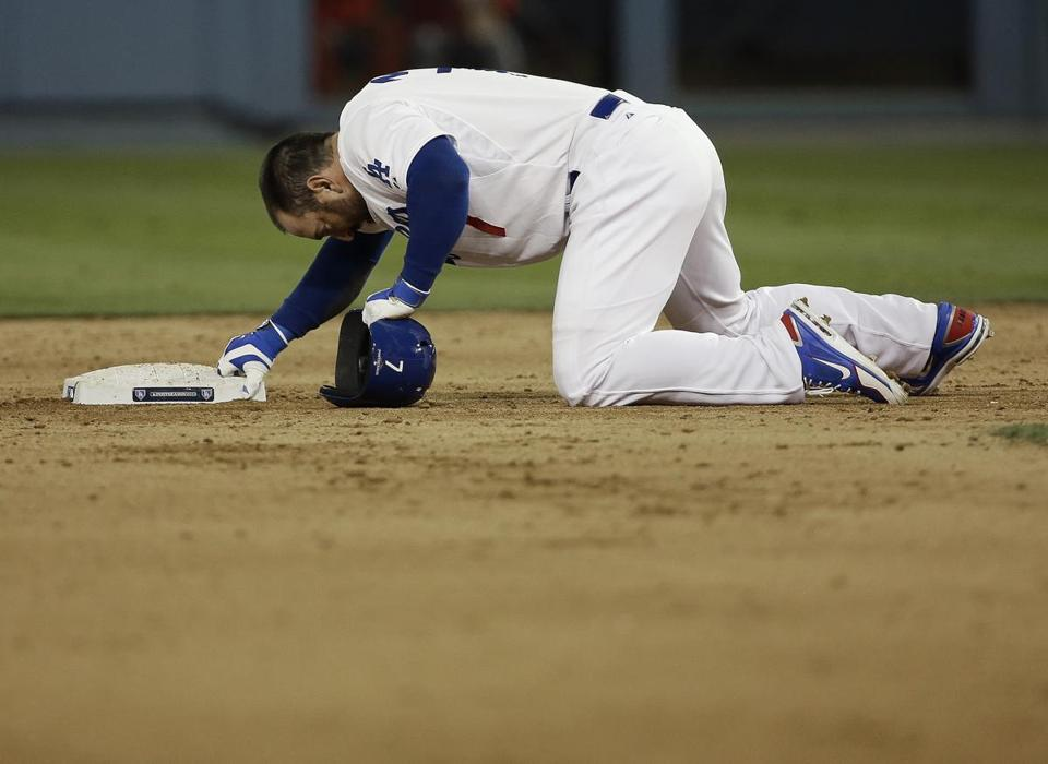 Nick Punto was downcast after being picked off second base for the second out of the seventh inning, ending the Dodgers' last scoring threat.