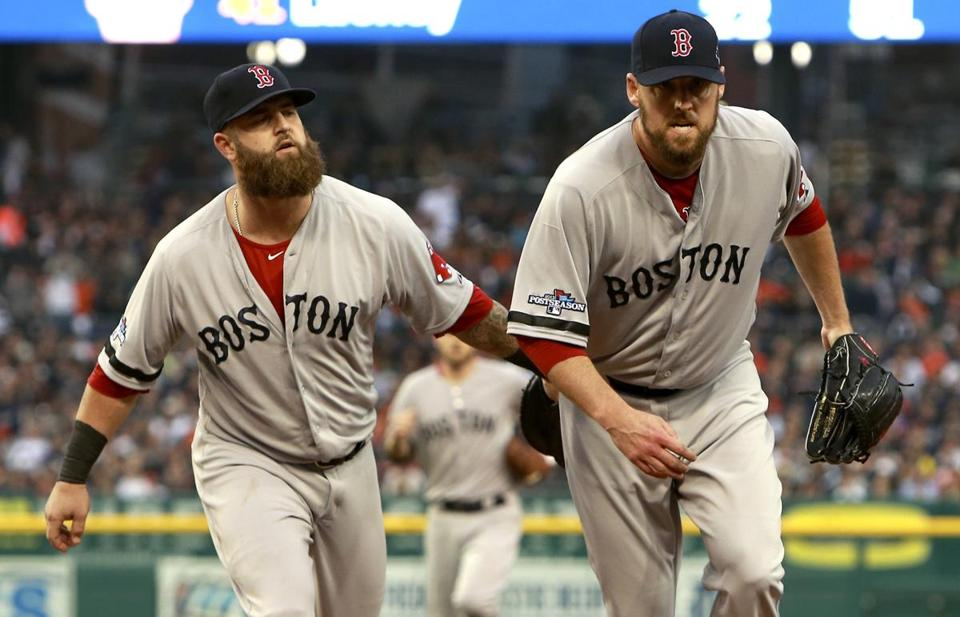 John Lackey, right, and Mike Napoli were the stars of Game 3 for the Red Sox.