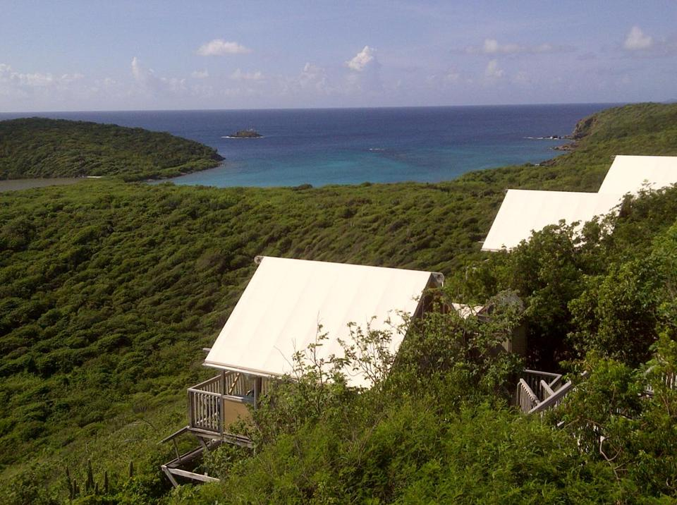 "The ""eco tents"" at Concordia Eco-Resort, on St. John in the US Virgin Islands, look out on Drunk Bay and Salt Pond Bay."