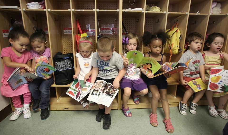 Children at the Laboure Center preschool in South Boston took part in a ReadBoston  storytelling program.