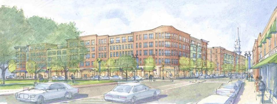 An architect's rendering of the apartment and retail development proposed for Main and Moody streets in Waltham.