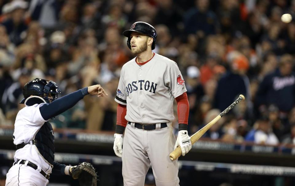 Red Sox shortstop Stephen Drew sports an all-too-familiar expression to Boston fans after striking out in the sixth inning.