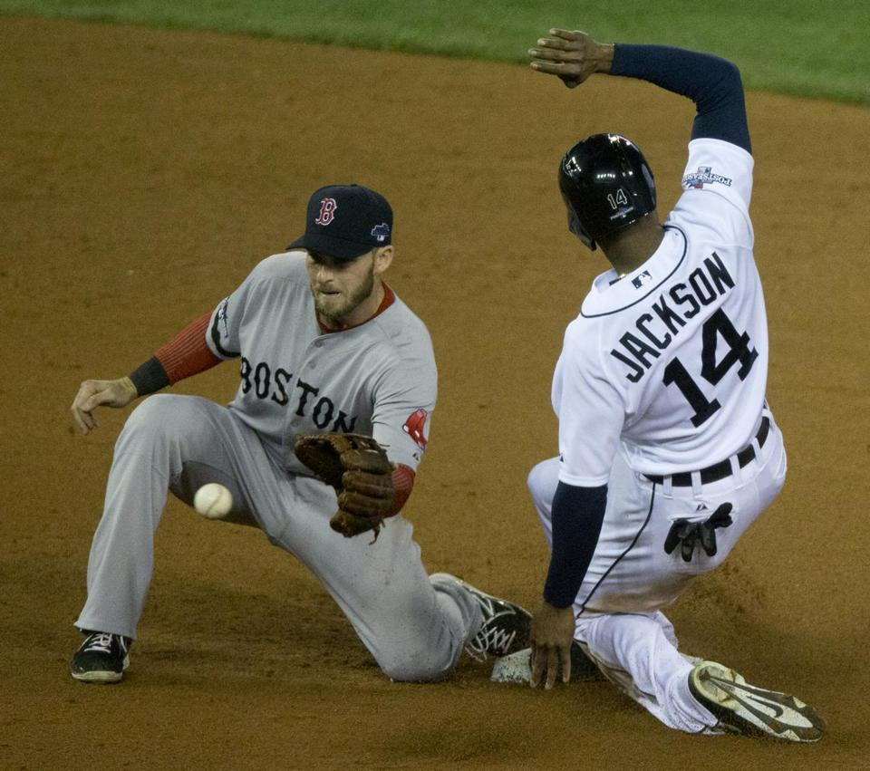 Austin Jackson was forced at second on this play but broke out of a slump with two hits, two RBIs, and a run in Game 4.