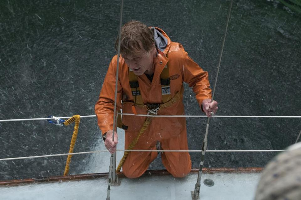 "Robert Redford fights the elements on a boat in the Indian Ocean in ""All Is Lost.''"