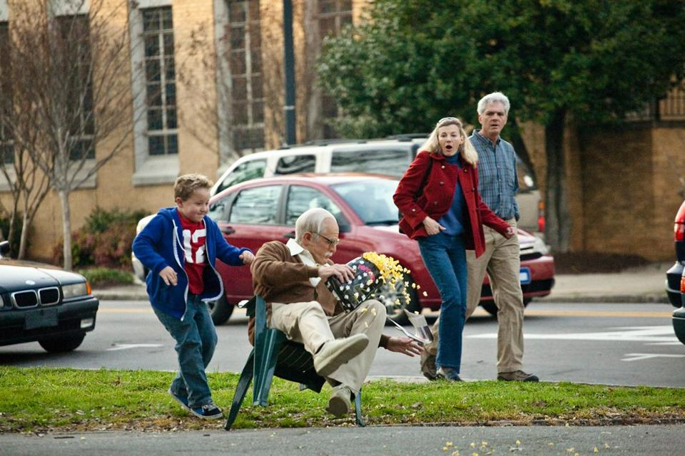 "Johnny Knoxville (center, in octogenarian makeup) and Jackson Nicoll (left) star in ""Jackass Presents: Bad Grandpa."""