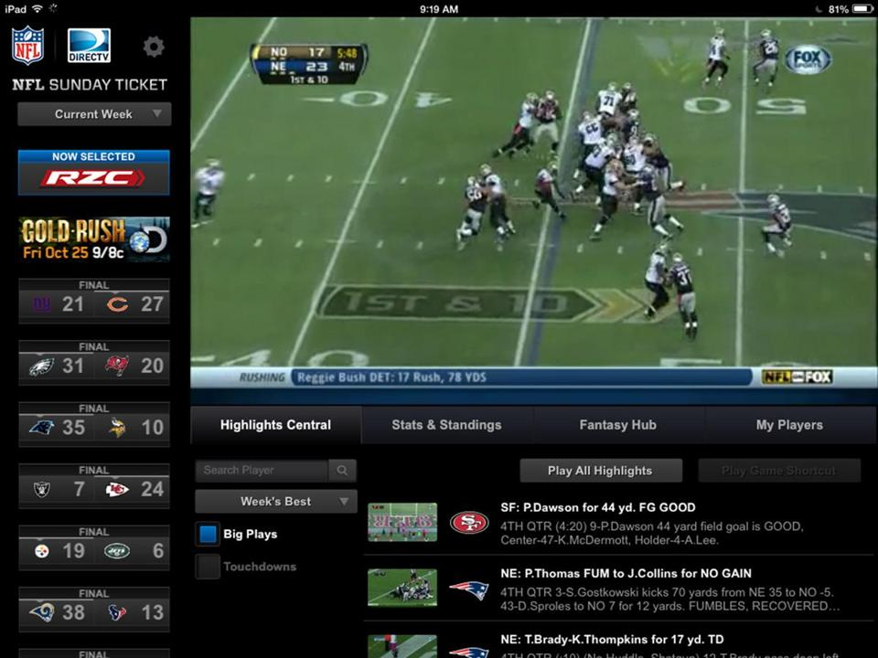 A screenshot from the NFL Sunday Ticket computer tablet app.