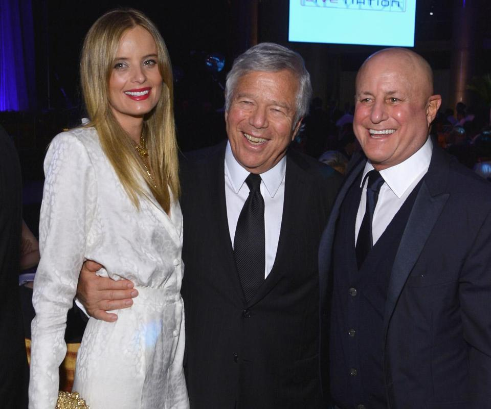From left: Ricki Lander, Robert Kraft, and Ron Perelman at the AIDS benefit hosted by Elton John.