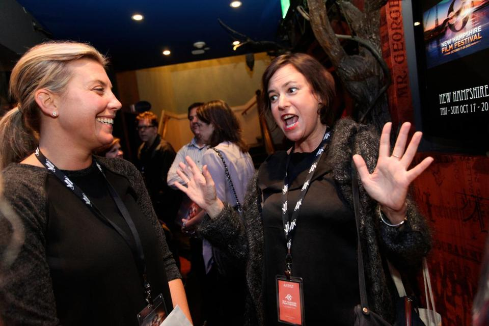 Lisa Muskat (right) with Nicole Gregg, executive director of the New Hampshire Film Festival.