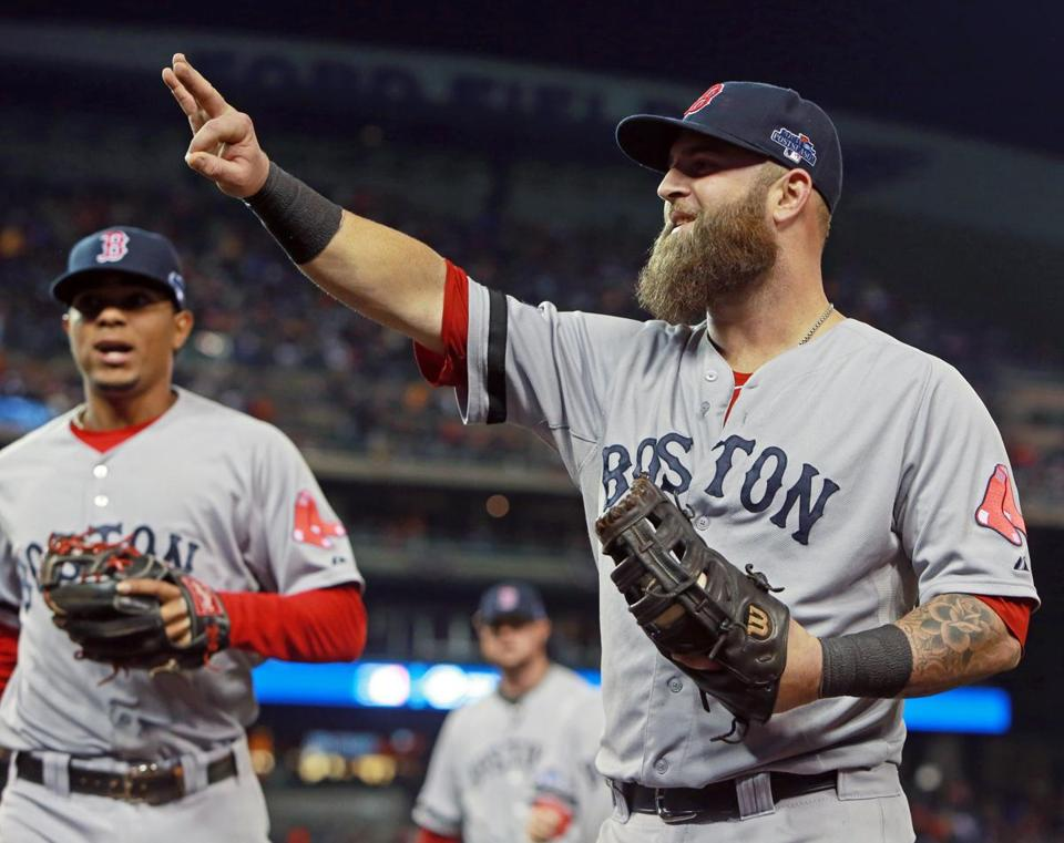 Mike Napoli smiled after the Red Sox pulled off a double play to end the fourth inning.