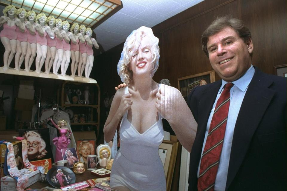 Roger Richman posed in his Beverly Hills office with Marilyn Monroe merchandise he licensed worldwide.