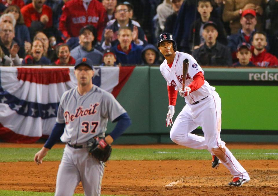 Rookie Xander Bogaerts was in the middle of the action, hitting a double to left in the fifth.