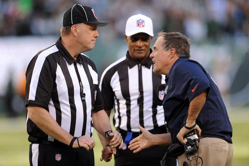 Bill Belichick argued against the call to no avail.