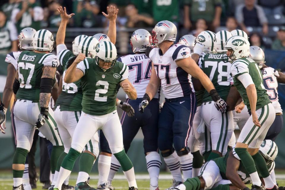 Jets kicker Nick Folk was pumped after putting the deciding 42-yarder through to end overtime.