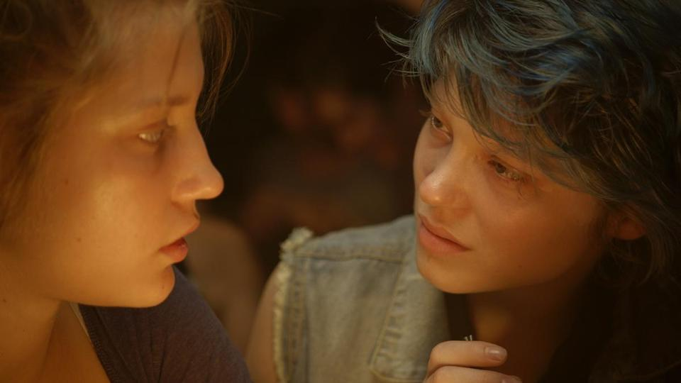 "Adèle Exarchopoulos (left) and Léa Seydoux in the French film ""Blue Is the Warmest Color."""