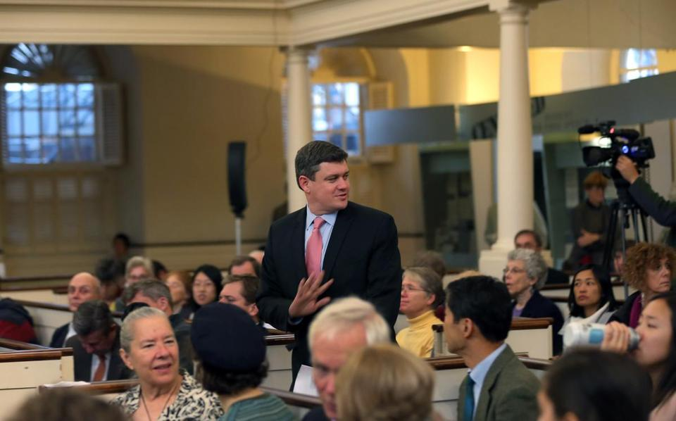John R. Connolly attended an environmental forum. His opponent, Martin J. Walsh, canceled. Walsh's campaign said he was not feeling well and had to prepare for the debate.