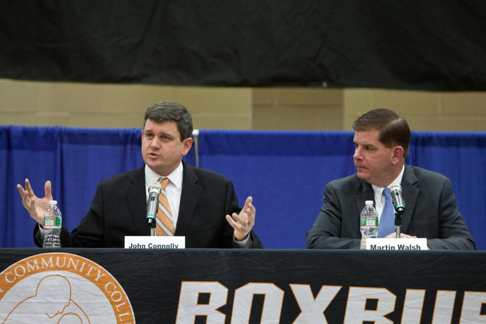 Mayoral candidates John Connolly and Martin J. Walsh debated at the Boston Mayoral Forum hosted by the Urban League of Massachusetts at the Reggie Lewis Center in Roxbury.