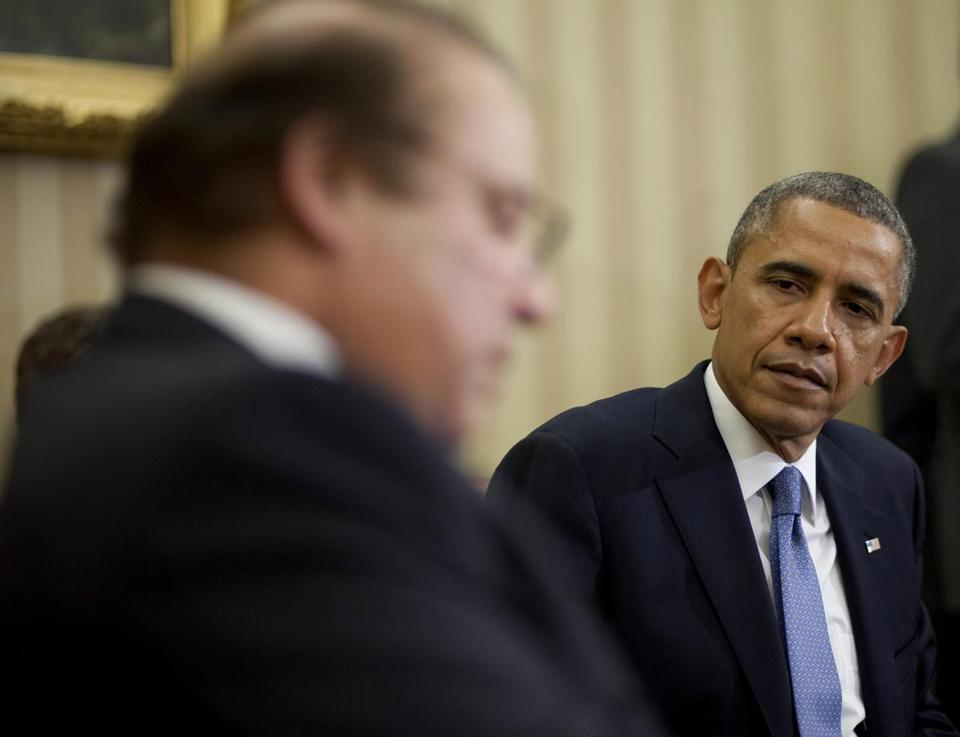 "President Obama did not publicly bring up the contentious issue of drone strikes in the conference at the White House. But Prime Minister Nawaz Sharif, did speak out, ""emphasizing the need for an end to such strikes.''"