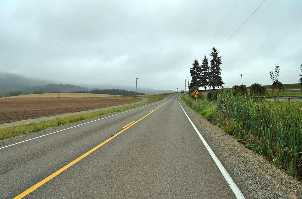 The country road in Oregon where the author and her husband narrowly avoided a head-on collision.