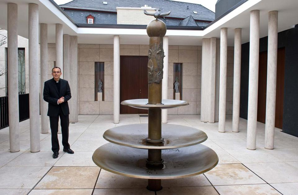 Franz-Peter Tebartz-van Elst, Bishop of Limburg , Germany stood in the atrium of the chapel at the Bishop's residence in Limburg, Germany in 2012.