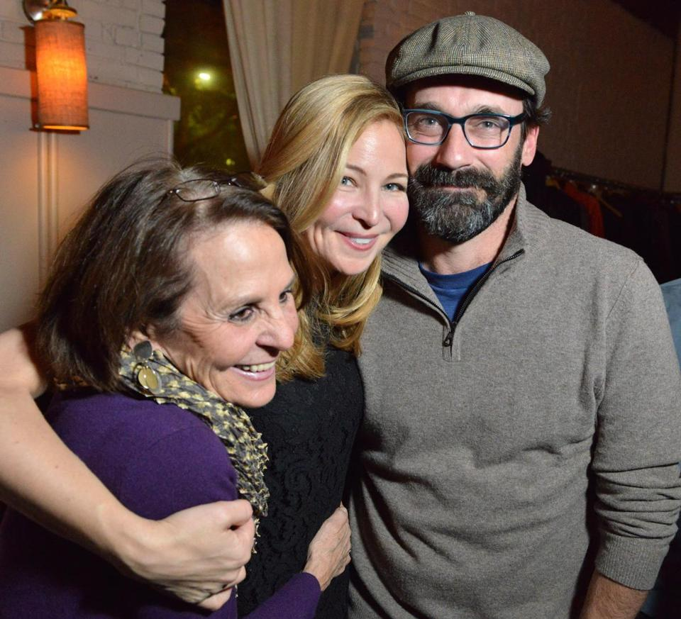 "From left, Connie Perelson of Guilford Ct, with her daughter, actor Jennifer Westfeldt, and Westfeldt's boyfriend Jon Hamm to the cast party at Masa for ""The Power of Duff."""