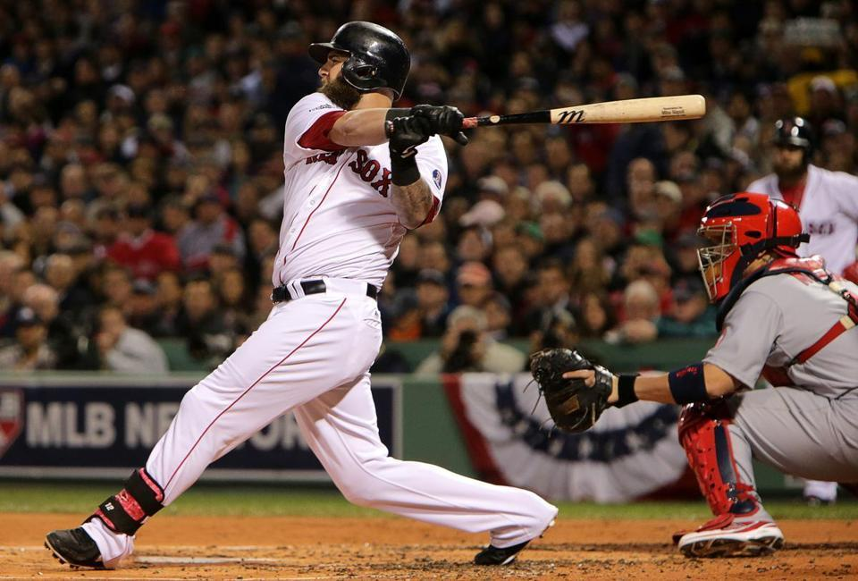 Sox first baseman Mike Napoli blasted a three-run double in the first inning off Adam Wainwright.