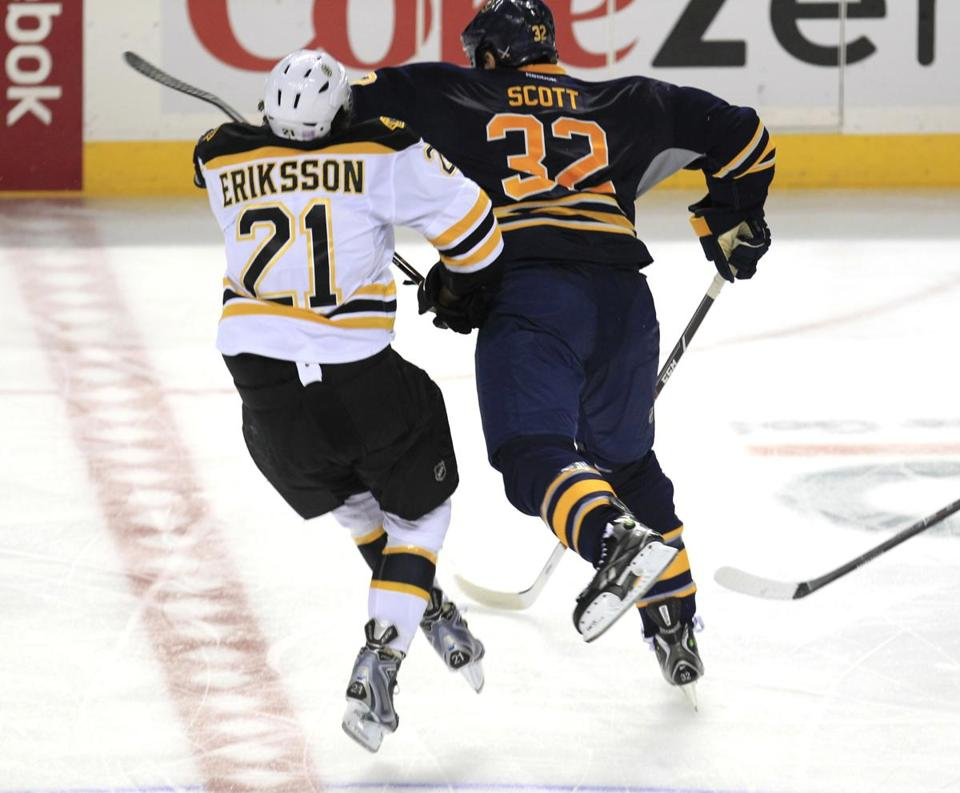 "Buffalo's John Scott checked Bruins forward Loui Eriksson during the third period of Thursday's game. NBCSN hockey analyst and former Bruins coach Mike Milbury unloaded on Scott for delivering the hit. ""This guy is a predator,"" Milbury said."