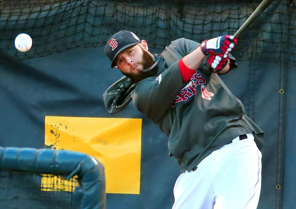 Dustin Pedroia hit a grounder during pregame batting practice on Thursday.