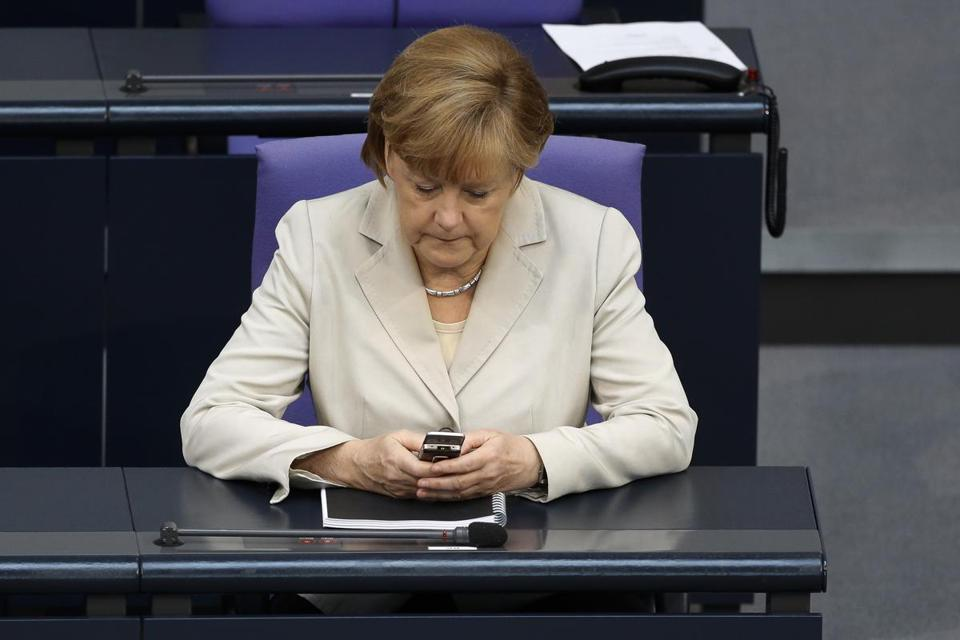 German Chancellor Angela Merkel's phone was allegedly monitored by the United States.