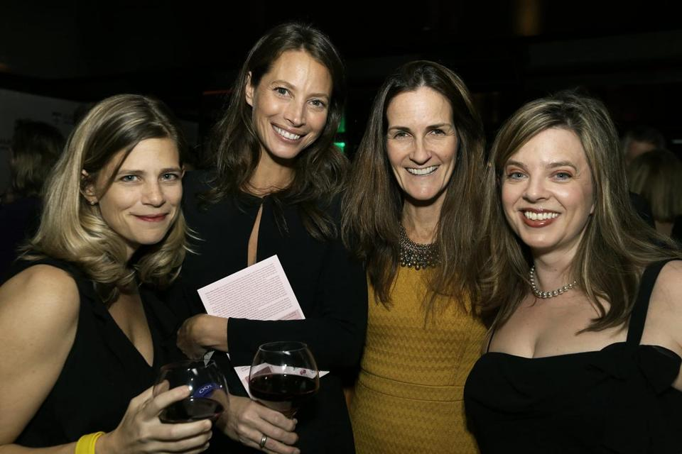 From left: Kerin Thornton of Wellesley, Christy Turlington Burns, Wendy McWeny of Williamstown, Emily Chapman of Maynard at the Harvard School of Public Health's Centennial Celebration at the Revere Hotel.