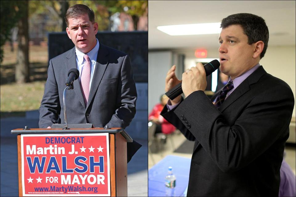 Mayoral candidates State Rep. Martin J. Walsh, left, and City Councilor John Connolly.