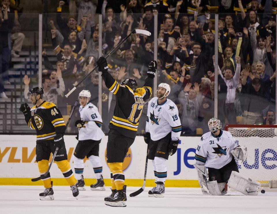 Boston Bruin David Krejci celebrated his game-winning goal with teammate Milan Lucic.