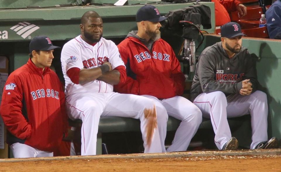 David Ortiz, second from left, and the Red Sox watched the Cardinals leave Fenway Park with a win in Game 2.