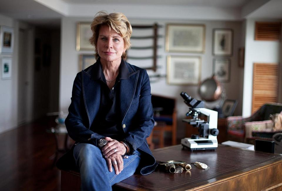 Patricia Cornwell's office on the Boston waterfront is filled with items from her research on Jack the Ripper and other cases.