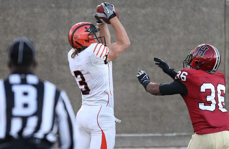 Princeton's Roman Wilson caught the game-winning pass over Harvard in triple overtime.