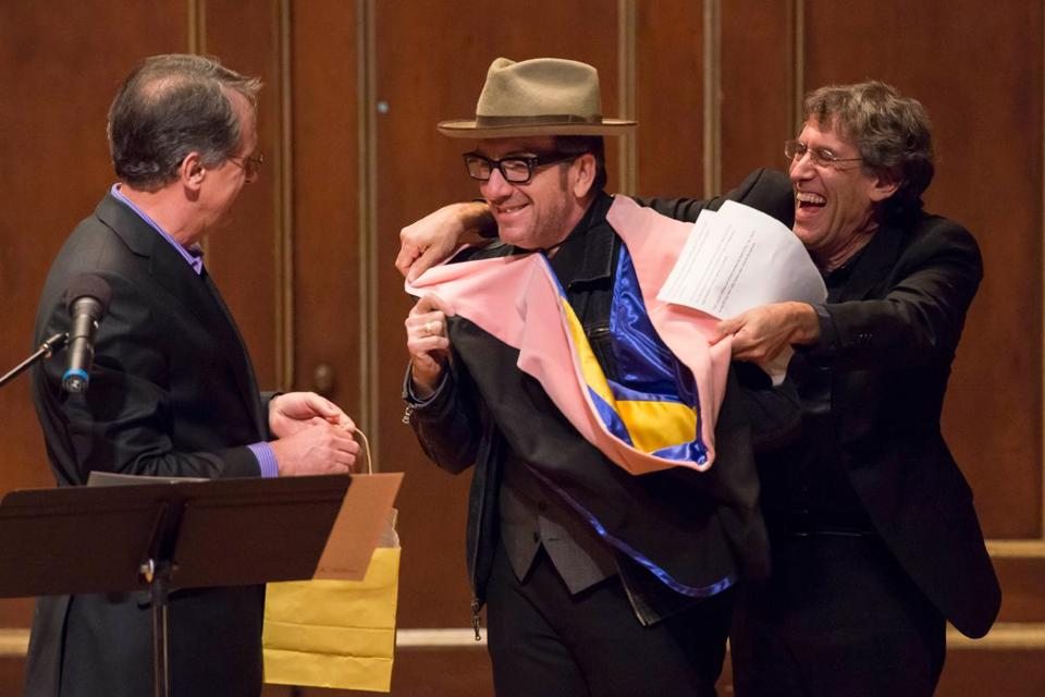 From left: New England Conservatory President Tony Woodcock, Elvis Costello, and Hankus Netsky.