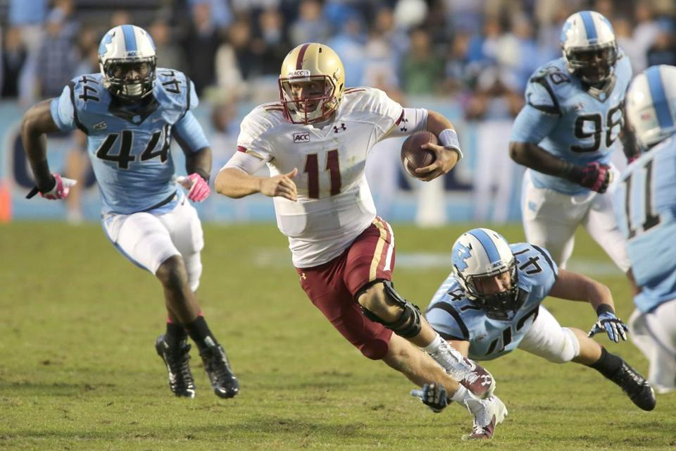 BC's Chase Rettig wasn't very effective with his arm (57 yards) or his legs (23 yards) before leaving with an injury.