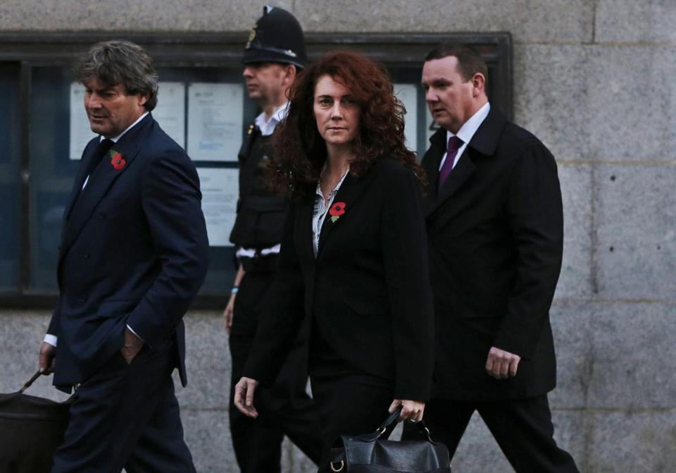 Rebekah Brooks left the Central Criminal Court in London accompanied by her husband, Charles.