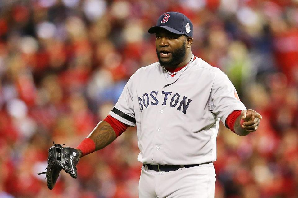David Ortiz has had to pick up his mitt to play first base in St. Louis.
