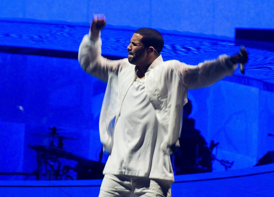 Drake (shown this week in New Jersey) brought his astutely written rap to town.