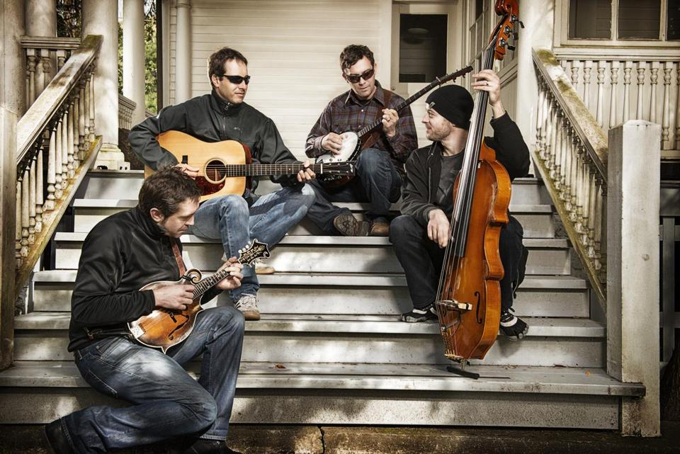 From left: Jeff Austin, Adam Aijala, Dave Johnston, and Ben Kaufmann in the Yonder Mountain String Band.