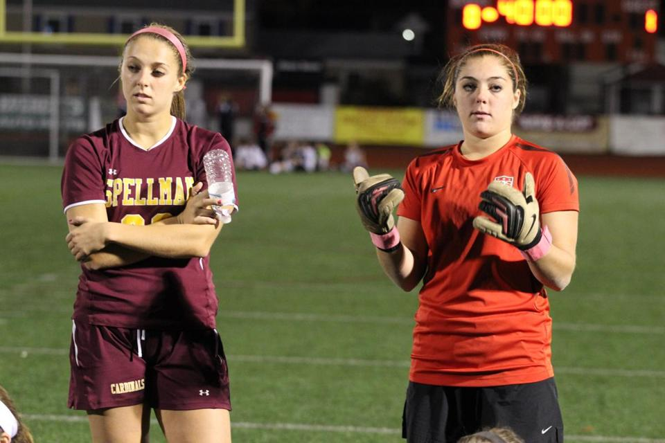 The Schneider twins, Tina (left) and Julia, are two of the reasons that the Cardinal Spellman girls' soccer squad earned a bye in the first round of the South sectional.