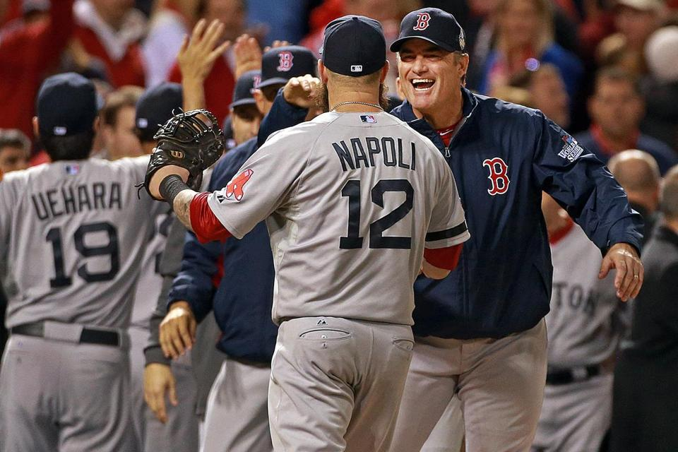 Red Sox manager John Farrell congratulated his players on their pivotal 3-1 win in Game 5.
