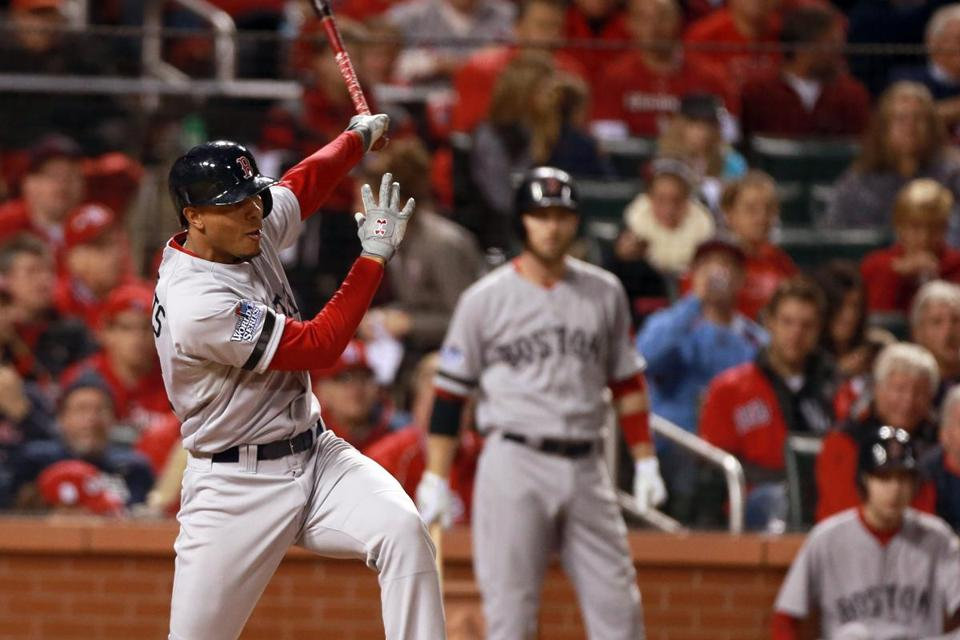 Xander Bogaerts, who was 2 for 4, follows through on his single in the seventh inning.