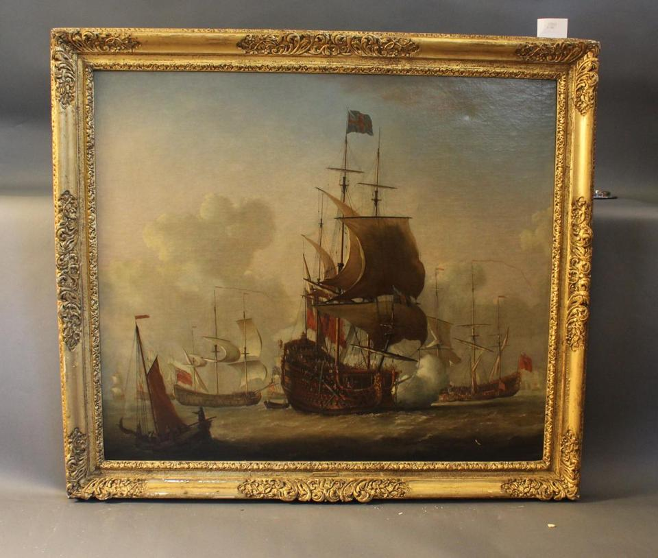 """British Warships in Port"" by the Dutch-born British artist Isaac Sailmaker is from the marine collection of the late Anthony Athanas, founder of Pier 4 restaurant. The painting is expected to bring $40,000-$60,000 at Boston Harbor Auctions' Marine Sale."