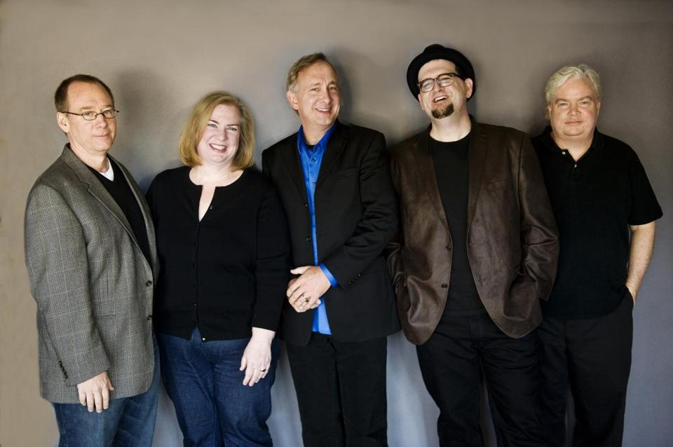 From left: Joel Hodgson, Mary Jo Pehl, Trace Beaulieu, J. Elvis Weinstein, and Frank Conniff of the movie-mocking troupe Cinematic Titanic.
