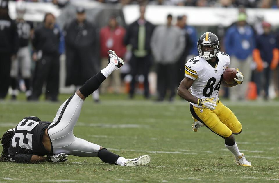 Steelers receiver Antonio Brown leads the NFL with 56 catches and is tied for ninth with 630 yards.